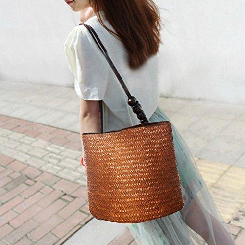 la bolso la 2018 Café de de rebordea nueva tejido simple personalidad granos versátil bolso la del playa bolso la paja de retro moda el Chaufly manera y de HpqASBnfAw