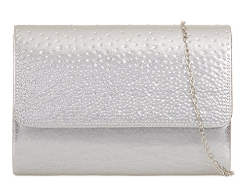 Prom Beaded Crystal Handbags 299 Bridal 729 Purses LeaHWard Bag Silver Sparkly Diamante Clutch Wedding YxaXP0wq