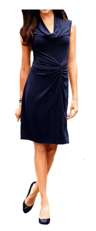 Best Connections Women's Cut-Out Plain Sleeveless Dress Blue Navy 8