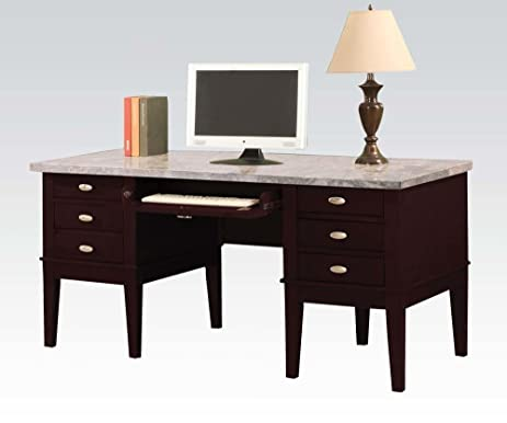 Beautiful Acme Furniture Britney 92008 60u0026quot; Computer Desk With 6 Drawers Keyboard  Tray Marble Top Tapered