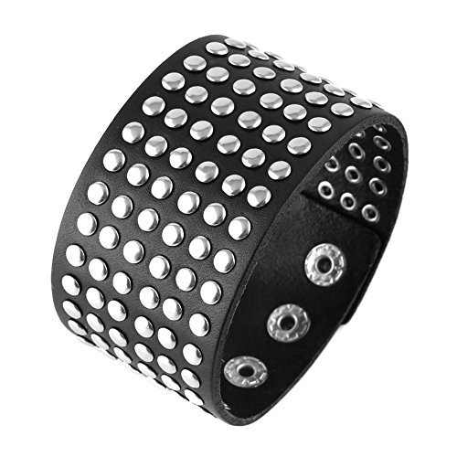 Black Studded Leather - HZMAN Unisex Metal Spike Studded Cuff Bangle Punk Rock Wide Strap Genuine Leather Bracelet (Black 1)