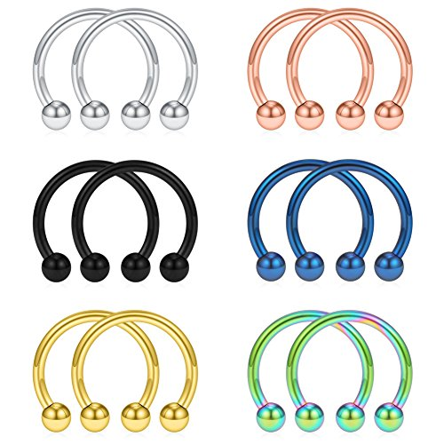 SCERRING 12PCS 12mm Mix Color Stainless Steel Nose Horseshoe Hoop Rings Eyebrow Lip Ear Tragus Septum Piercing Hanger Retainer 14G