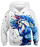 HaniLav Teen Boys' Novelty Fleece Sweatshirts Pocket Pullover Hoodies 4-13Y,Colorful Unicorn,M