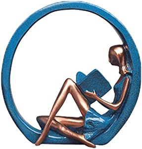 VORCOOL Yoga Figurine Resin Figure, Girl Yoga Pose Sculptures Girl Figurine Ornament for Home TV Cabinet Bookshelf Decor