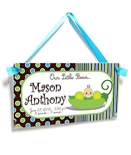 Custom Baby Birth Announcement Nursery Door Sign for Kids Bedroom Cute Green Bean