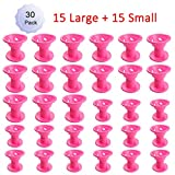 hair rollers for natural hair - Hair Care Rollers Hair Curlers Silicone No Clip Hair Style Rollers Soft Magic DIY Curling Hairstyle Tools Hair Accessories Pink 30 PCS