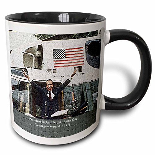 3dRose FabPeople - Presidents and Politics - President Richard Nixon - Army One After the Watergate Scandal in 1974 (Mosaic) - 15oz Two-Tone Black Mug -