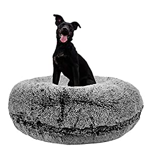 Bessie and Barnie Signature Midnight Frost Luxury Shag Extra Plush Faux Fur Bagel Pet/Dog Bed (Multiple Sizes) 35