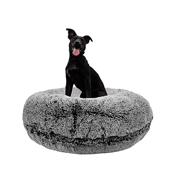 Bessie and Barnie Signature Midnight Frost Luxury Shag Extra Plush Faux Fur Bagel Pet/Dog Bed (Multiple Sizes) 1