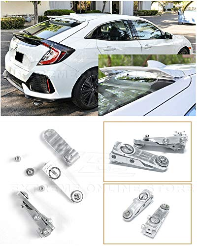 (Replacement for 2016-Present Honda Civic Hatchback Models | EOS Anodized Silver Rear Roof Wing Spoiler Riser Extender Kit)