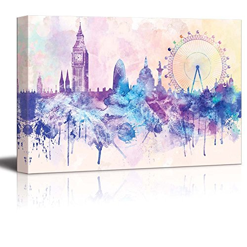 wall26 - Hues of Purples and Pinks Splattered Paint on The City of London with The Big Ben and The London Eye - Canvas Art Home Decor - 12x18 inches]()