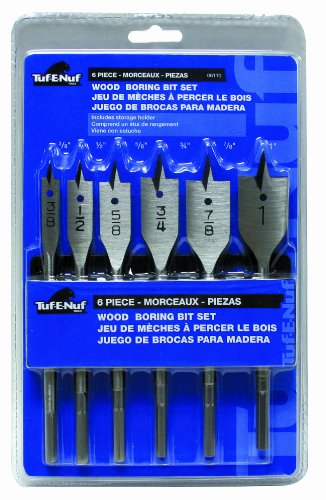 Task Tools 06110 6-PieceTuf-E-Nuf Wood Boring Spade Bit Set with Holder, Includes 3/8-Inch, 1/2-Inch, 5/8-Inch, 3/4-Inch, 7/8-Inch, 1-Inch Bits ()