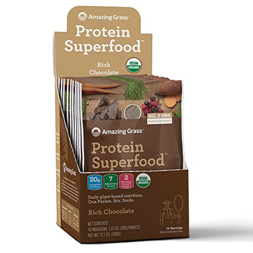 Amazing Grass Organic Plant Based Vegan Protein Superfood Powder, Flavor: Rich Chocolate, 10 Count Box, 1.27oz Individual Serving, Meal Replacement Shake
