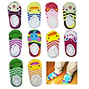 CXP Good Goods 10 pairs Cute Baby Ankle Cotton Toddler Stripes Anti Slip Skid Socks Baby Socks for 6-18 Month