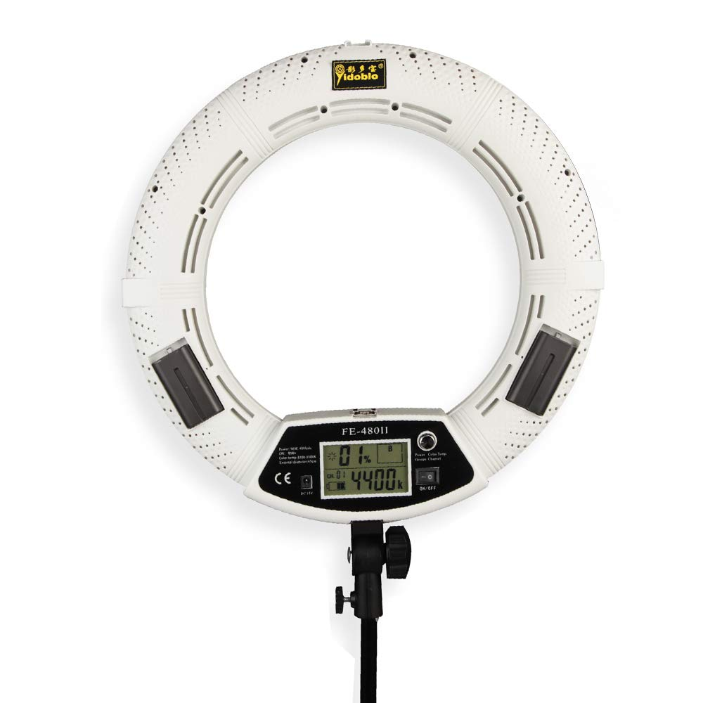 Yidoblo 18 Inch 96W 480 SMD LED Ring Light Bi Color Photo Studio Video Portrait Film Selfie YouTube Photography Continuous Lighting with Remote, Phone/Camera Holder, Makeup Mirror White