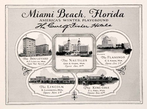 1926 Ad Miami Beach Florida Vacation Lodging Hotels Flamingo Nautilus King Cole - Original Print - Miami Lincoln Boulevard