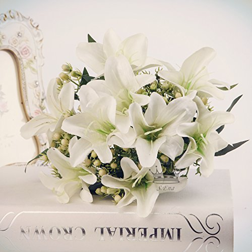 - S.Ena, 9 Branch 9 Heads Artificial Silk Fake Flowers Leaf Lily Wedding Floral Home Decor Bouquet Birthday Party DIY, Pack of 1 (White)