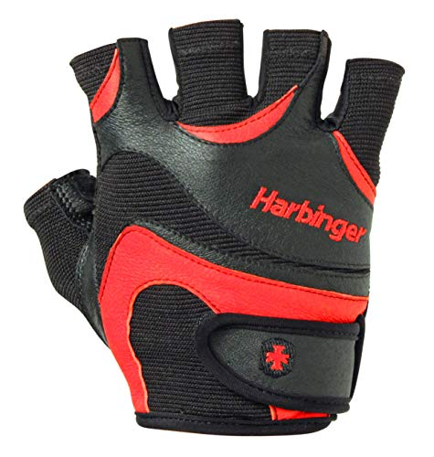 Harbinger Flexfit Non-Wristwrap Weightlifting Gloves with Flexible Cushioned Leather Palm (Pair), Red/Black, Medium