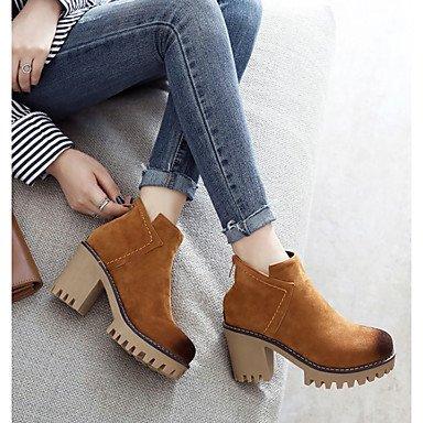 DESY Femme Chaussures Cuir Nubuck Automne Hiver Bottes à la Mode Bottes Gros Talon Bout rond Bottine/Demi Botte Fermeture Pour Décontracté brown hUswjS