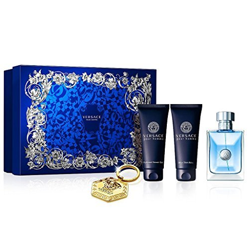 Versace Pour Homme 4 Piece GIFT SET for Men Includes: 3.4 fl. oz Eau de Toilette Spray + 3.4 fl. oz After Shave Balm + 3.4 fl. oz Perfumed Shower Gel + Versace Keychain