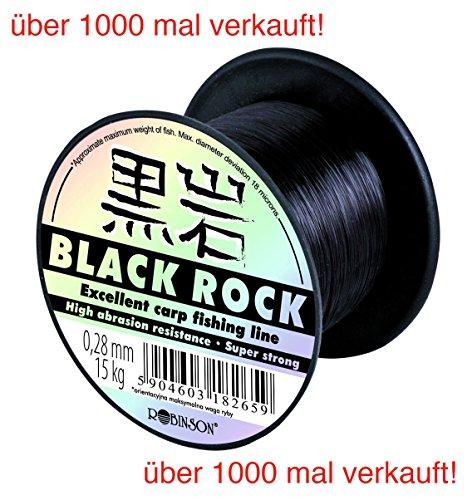 Robinson Angelschnur Black Rock monofile Sehne Karpfen Hecht - 7 Stärken, Black Rock Varianten:Black Rock 0.300mm / 17kg