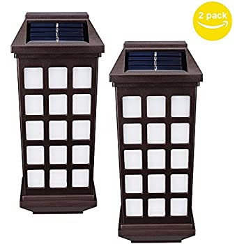 Solar Lights Outdoor, HUIHONG Outdoor Fence Lights, Wireless Waterproof LED Solar Lights for Porch,Patio,Yard,Garden,Walkways, Outside Wall with Light Sensor Auto On/Off(2 Pack)