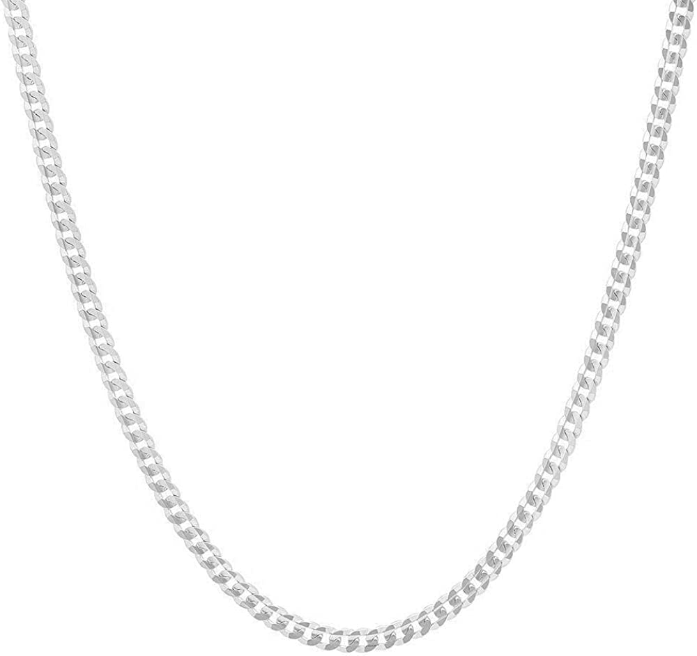 "Authentic Solid Sterling Silver Cuban Curb Link .925 ITProLux Necklace Chains 2MM - 10.5MM, 16"" - 30"", Silver Chain for Men & Women, Made In Italy, Next Level Jewelry"