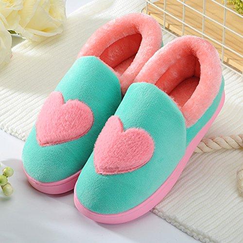 Y-Hui inverno cotone maschio pantofole in casa arredamento interno femmina scarpe caldo inverno di spessore non inferiore di slittamento paio di stivali,36-37 (Fit per 35-36 piedi),Guolu (Amore)