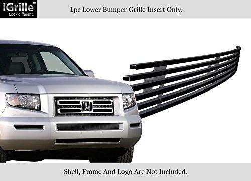 APS 2005-2008 Honda Ridgeline Black Bumper Stainless Steel Billet Grille Insert #S18-J61178H