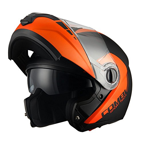 2913add0 Triangle Motorcycle Helmets Matte Modular Dual Visor Flip Up High  Performance [ DOT ] Orange (Medium) - Buy Online in Oman. | Automotive  Products in Oman ...