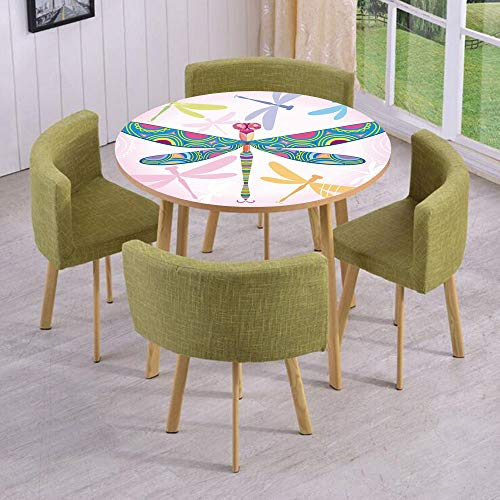 Round Table/Wall/Floor Decal Strikers,Removable,Decorative Vibrant Dragonfly Kids Figure in Various Tones Wildlife Graphic Art,for Living Room,Kitchens,Office Decoration