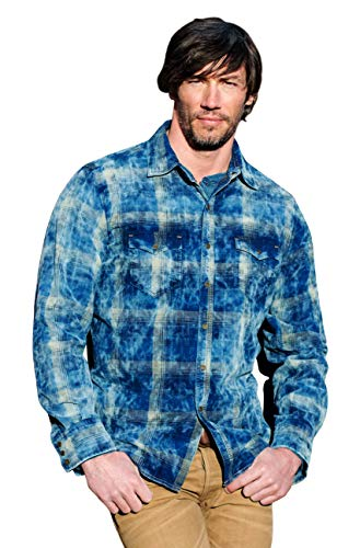 Ryan Michael Midnight Sky Corduroy Plaid Elk Snap Cloud Wash Western Style Shirt