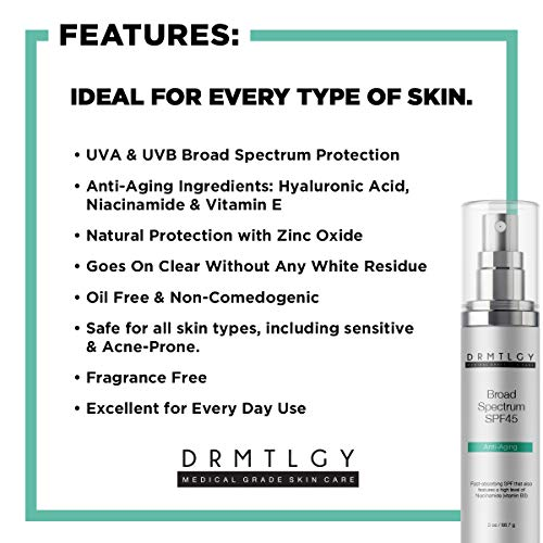 51GD55y0kHL - DRMTLGY Anti Aging Clear Face Sunscreen and Facial Moisturizer with Broad Spectrum SPF 45. Oil Free, Zinc Oxide Sunscreen For Sensitive Skin and Acne Prone Skin.