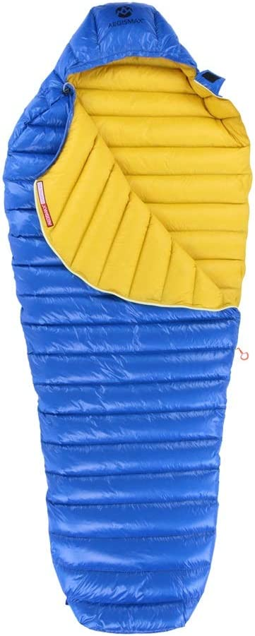 AEGISMAX グースダウンシュラフ 羽毛寝袋 マミーダウンシュラフ 高級撥水グースダウン採用 2°C~7°C Leto ブルー Large