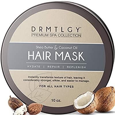 DRMTLGY Hair Mask with Shea Butter and Fractionated Coconut Oil - 10 oz. Deep Conditioning Hair Treatment for Dry, Damaged Hair.