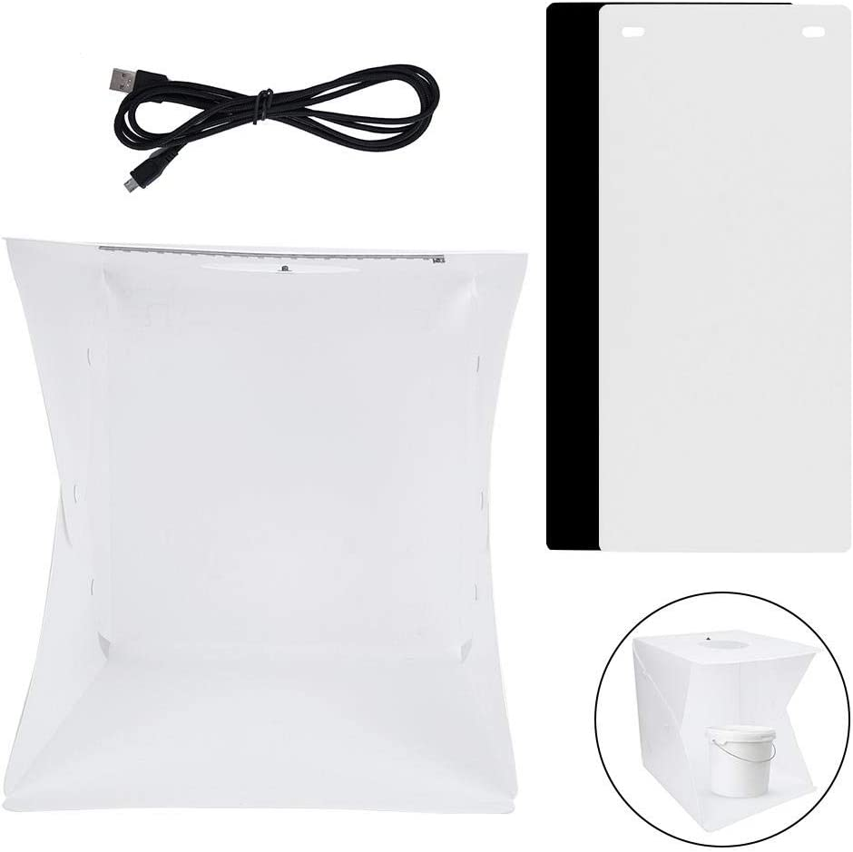 Studio Light Box Portable Folding Mini Photo LED Light Tent Shooting Softbox with 2 Color Backgrounds for Product Display Small Products