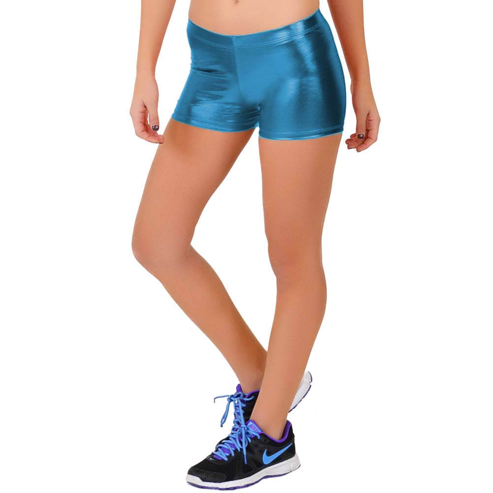 Metallic Turquoise Stretch is Comfort Women's NYLON SPANDEX Stretch Booty Shorts