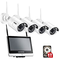 ZOSI 4CH 1080p Wireless Security Camera with Monitor,12.5 Inch LCD Monitor DVR/NVR Surveillance System with 1TB Hard Drive Built-in,4PCS 2.0MP 1080p WiFi Camera Outdoor/Indoor,Smart Motion Detection
