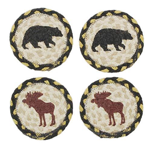 Capitol Earth Rugs Set of 4 Natural Jute Fiber Coasters (Moose & Bears)