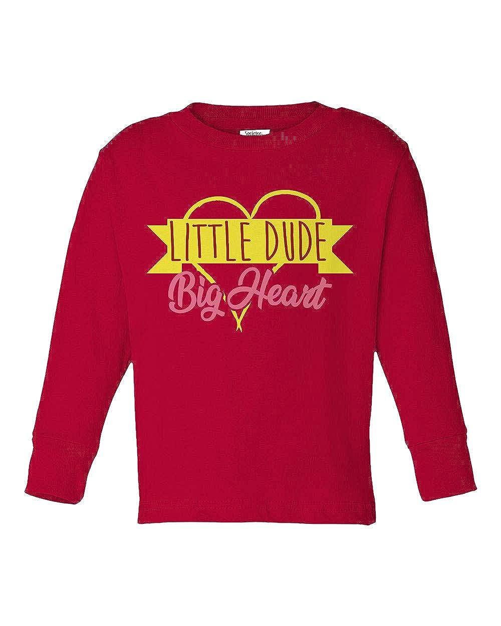 Societee Little Dude Big Heart Girls Boys Toddler Long Sleeve T-Shirt