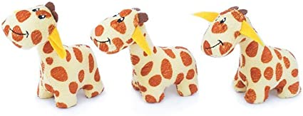 Burrow Giraffes for Dog Toy Round squeaker 3 Pack