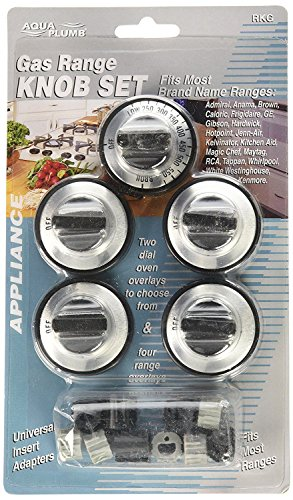 ANTOBLE Replacement RKG Gas Range Knob Set Black with Silver Overlay for Aqua Plumb Range 5-Pack (Gas Range Black)