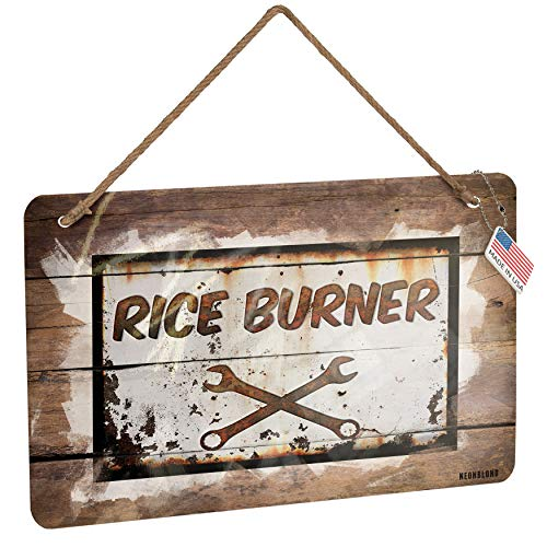 NEONBLOND Metal Sign Rusty Old Look car Rice Burner Christmas Wood Print