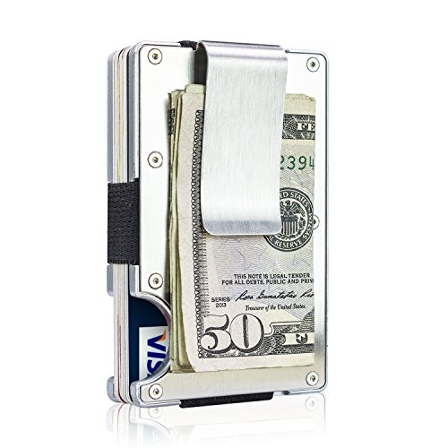 ITALL RFID BLOCKING Wallet Money Clip for Men,Minimalist Silver Business Card Holder Case Wallet,Stainless Steel ID Card Protector