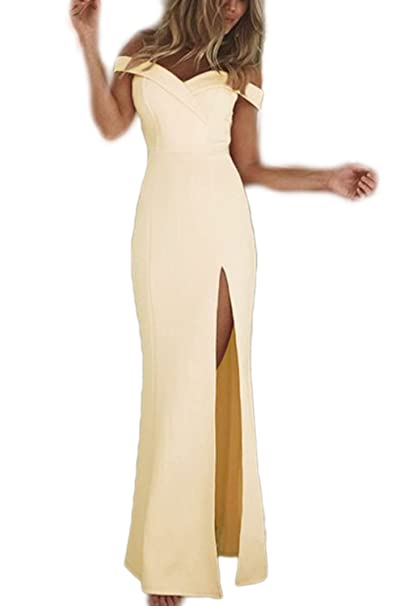 La Mujer Elegante Strapless Off Shoulder Backless Vestido Monocolor Corte Largo: Amazon.es: Ropa y accesorios