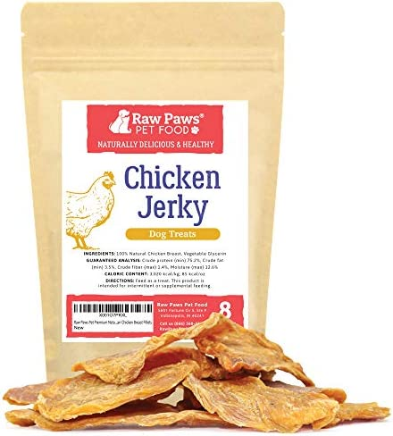 Raw Paws Premium Chicken Jerky Dog Treats – Natural Dog Jerky Treats Packed in USA – Real Chicken Dog Treats – Chicken Jerky for Dogs Raised Without Antibiotics – Free Range Chicken Dog Chews