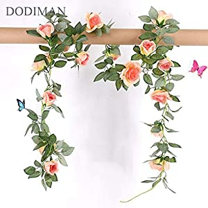 ShineBear 1 Pcs Silk Roses Ivy Vine with Green Leaves for Home Wedding Decoration Fake Leaf DIY Hanging Garland Artificial Flowers 86