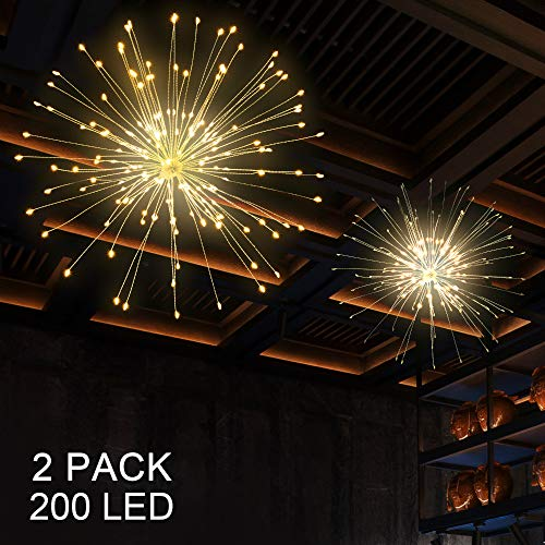 BizoeRade 2pack Hanging String Lights, 200 LED Hanging Lights, 8 Mode Dimmable Firework Lights with Remote, Waterproof Hanging Twinkle Lights for Ceiling, Party Decor, Outdoor Dinner (Ceiling Patio Ideas)