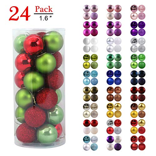 Christmas Balls Ornaments for Xmas Tree - Shatterproof Christmas Tree Decorations Perfect Hanging Ball Red & Green 1.6