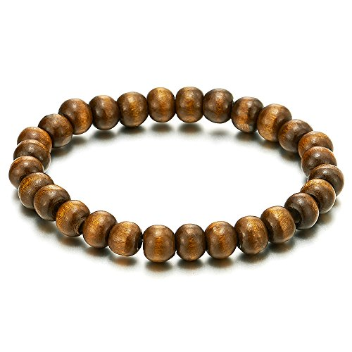 Classic Mens Womens Brown Wood Beads Bracelet, 8mm Tibetan Beads Buddhist Prayer Mala, Stretchable (Brown Wood Bead)
